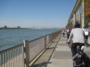 Bicycling on the Detroit River Walk near Cobo Hall.