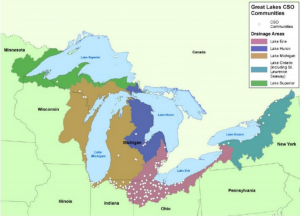 Combined sever overflows (CSOs) in the Great Lakes Credit: US EPA