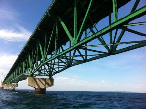 Mackinac Bridge from Straits of Mackinac during tour on the Straits Area Tour