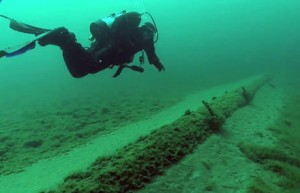 Straits of Mackinac pipeline - known as Line 5, image courtesy the University of Michigan