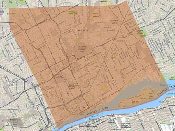 Effected area Detroit for water issue