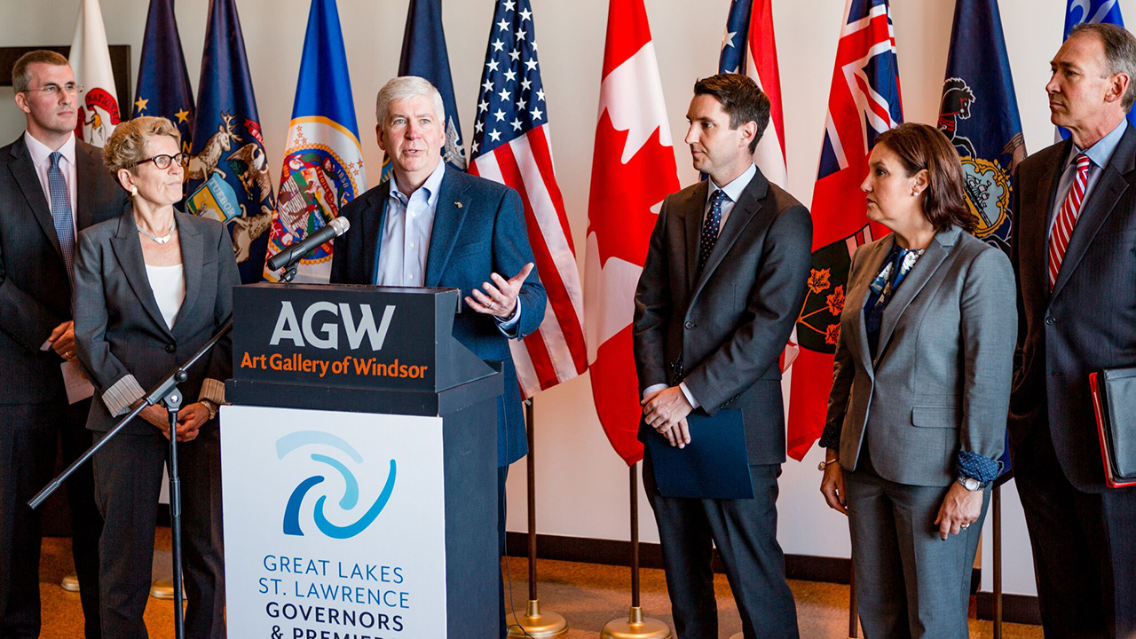 Gov. Snyder (MI) speaks at the Great Lakes St. Lawrence Governors & Premiers Conference in Detroit October 2017