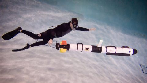 Image of underwater robot to monitor oil pipeline under Line 5. Photo courtesy - Sarah Bird, Michigan Tech