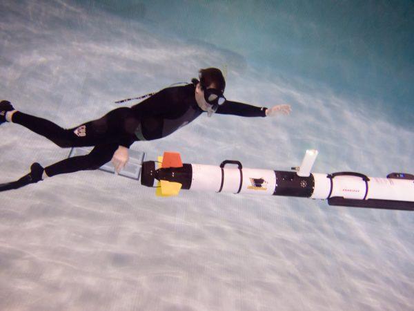 Image of underwater robot to monitor oil pipeline under Line 5. Photo courtesy - Sarah Bird, Michigan Tech
