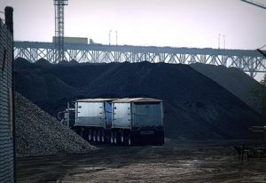 A truck arrives with more petcoke on Detroit's waterfront in 2013 Stephen Boyle, FuzzyTek Images