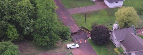 Aerial view of a sinkhole in the Wester Upper Peninsula - Photo - Michigan.gov.