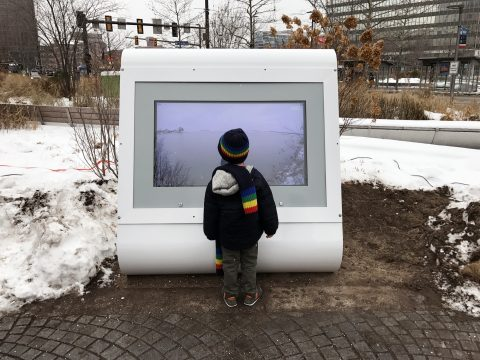 Kiosk streaming live feeds from cameras 247 on Public Square, Cleveland. Provided by Julia Christensen