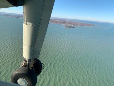 View of lake through wing of plane